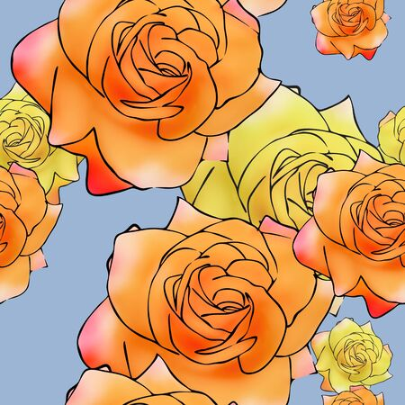 Rose flower. Texture of flowers. Seamless pattern for continuous replicate. Floral background, photo collage for production of textile, cotton fabric. For use in wallpaper, covers