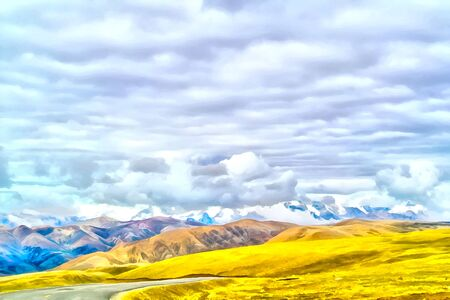 Watercolor mountain landscape. Digital painting - illustration. Mountain landscape. Alpine landscape in early spring. Himalayas Tibet