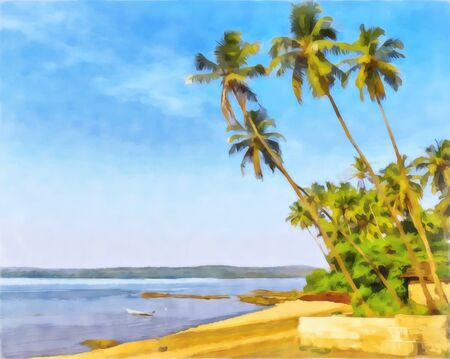 Watercolor seascape. Digital painting - illustration. Watercolor drawing. The shore of the bay, palm trees hanging over the water.