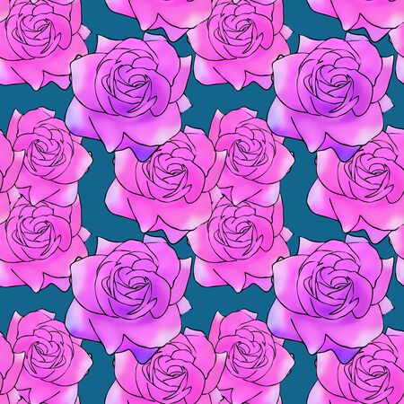 Rose, rose flower. Texture of flowers. Seamless pattern for continuous replicate. Floral background, photo collage for production of textile, cotton fabric. For use in wallpaper, covers