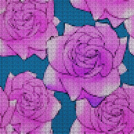 Illustration. Cross-stitch. Rose, rose flower. Texture of flowers. Seamless pattern for continuous replicate. Floral background, collage.