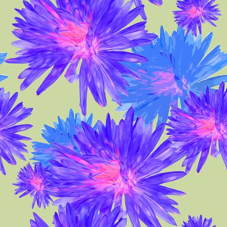 Aster, Michaelmas daisy. Texture of flowers. Seamless pattern for continuous replicate. Floral background, photo collage for production of textile, cotton fabric. For use in wallpaper, covers Фото со стока