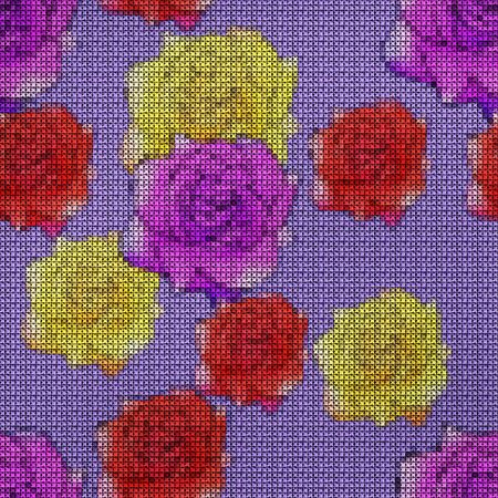 Illustration. Cross-stitch. Rose flower. Texture of flowers. Seamless pattern for continuous replicate. Floral background, collage. Zdjęcie Seryjne