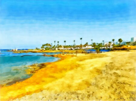 Digital painting - illustration. Seascape, sea, sky. Sandy coast. Tourist complex on the seashore. Bright yellow sand on the beach. Hotels on the beach. Watercolor seascape.