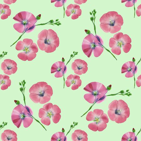 Flax. Texture of flowers. Seamless pattern for continuous replicate. Floral background, photo collage for production of textile, cotton fabric. For use in wallpaper, covers