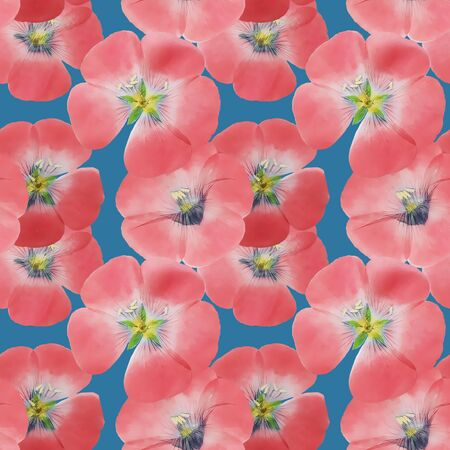 Flax.Illustration, texture of flowers. Seamless pattern for continuous replicate. Floral background, photo collage for production of textile, cotton fabric. For use in wallpaper, covers