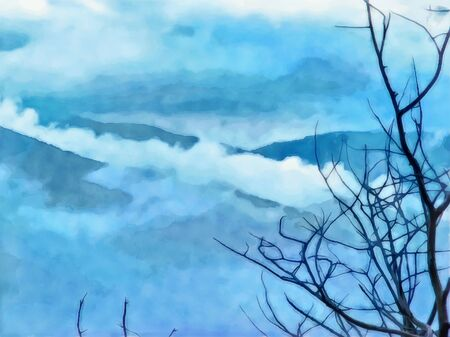 Watercolor mountain landscape. Mountain view in the fog. Digital painting - illustration. Watercolor illustration. Фото со стока