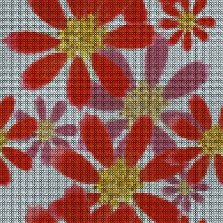 Illustration. Cross-stitch. Cosmos. Texture of flowers. Seamless pattern for continuous replicate. Floral background, collage. Zdjęcie Seryjne