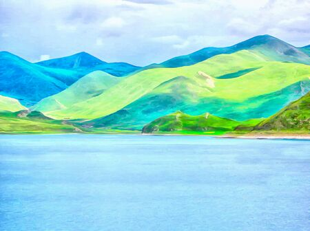 Watercolor mountain landscape, Himalayas, Tibet. Mountain and lake views. Digital painting - illustration. Watercolor drawing. Reklamní fotografie