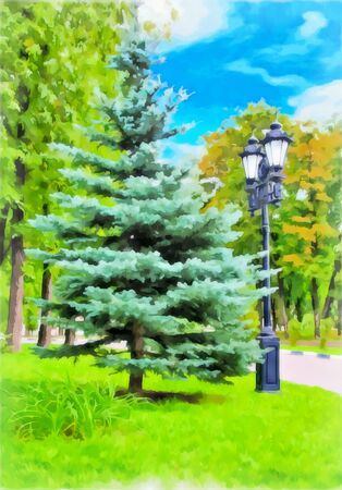 Watercolor city landscape. Park with a path among the trees. Lonely lantern illuminating spruce and a path. Digital painting, illustration. Watercolor drawing. Stockfoto