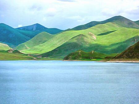 Watercolor mountain landscape, Himalayas, Tibet. Mountain and lake views. Digital painting - illustration. Watercolor drawing. Stock Photo