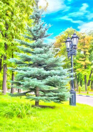 Watercolor city landscape. Park with a path among the trees. Lonely lantern illuminating spruce and a path. Digital painting, illustration. Watercolor drawing. Фото со стока