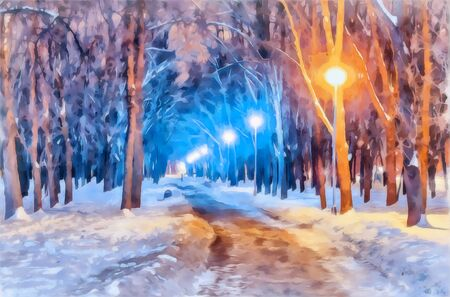 Watercolor cityscape. Winter evening. Alley with a path in the snowdrifts among the trees. Bright lights of lanterns. Digital painting - illustration. Watercolor drawing.