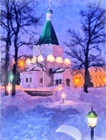 Night city watercolor landscape. View of the nightly lit church. Fairytale night. Snowflakes are falling. Digital painting, illustration. Watercolor illustration. Фото со стока