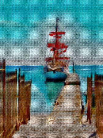Illustration. Cross-stitch. Seascape, sea, pleasure ship. Sailing yacht stands at the pier. Stock Photo