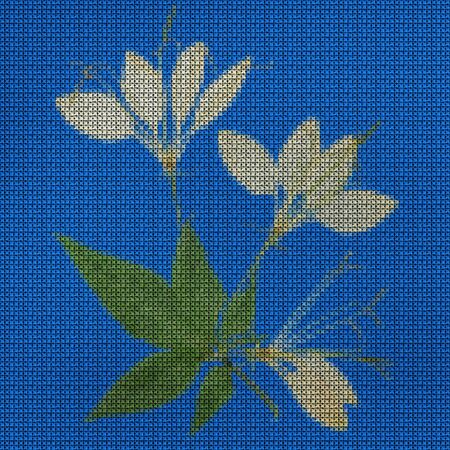 Illustration. Cross-stitch bouquet of flowers. Wildflowers. Cleome. Floral background, collage.  Flowers texture. Cross-stitching rustic, country style. Stock fotó