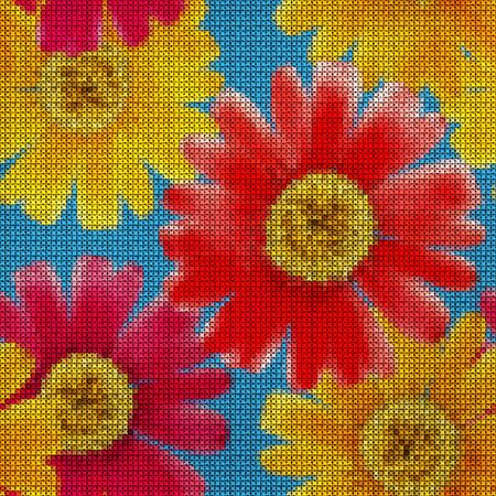 Illustration. Cross-stitch. Marigold, calendula flowers. Texture of flowers. Seamless pattern for continuous replicate. Floral background, collage.