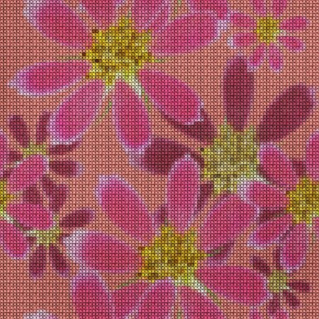 Illustration. Cross-stitch. Cosmos. Texture of flowers. Seamless pattern for continuous replicate. Floral background, collage. 스톡 콘텐츠