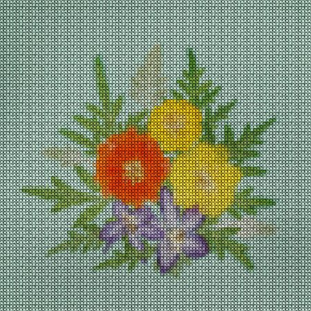 Illustration. Cross-stitch bouquet of flowers. Cosmos, cosmea Carpet. Floral background, collage.  Flowers texture. Cross-stitching rustic or country style. 스톡 콘텐츠