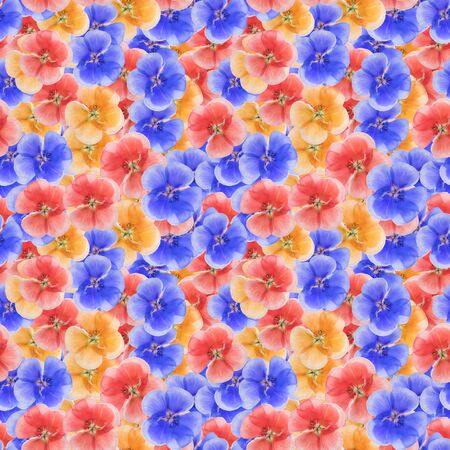Geranium. Illustration, texture of flowers. Seamless pattern for continuous replicate. Floral background, photo collage for production of textile, cotton fabric. For use in wallpaper, covers