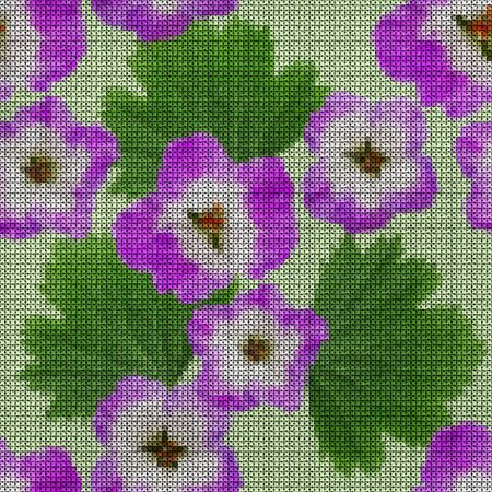 Illustration. Cross-stitch. Geranium, pelargonium flowers. Texture of flowers. Seamless pattern for continuous replicate. Floral background, collage. 스톡 콘텐츠