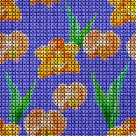 Illustration. Cross-stitch. Orchid, Phalaenopsis flowers. Texture of flowers. Seamless pattern for continuous replicate. Floral background, collage.