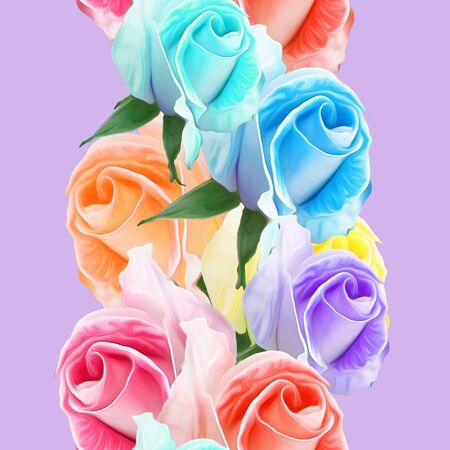 Rose, rose flower. Illustration, texture of flowers. Seamless pattern for continuous replicate. Floral background, photo collage for production of textile, cotton fabric. For use in wallpaper, covers