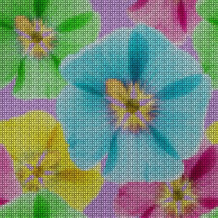 Illustration. Cross-stitch. Mallow, malva flowers. Texture of flowers. Seamless pattern for continuous replicate. Floral background, collage. 스톡 콘텐츠