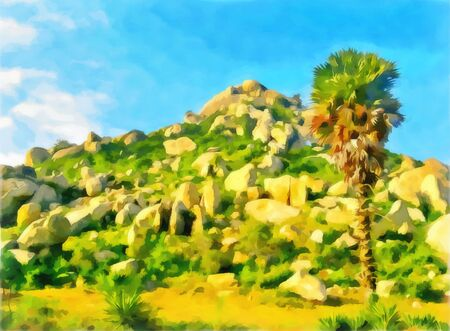 Digital artwork in watercolor painting style. Beautiful palm trees. India, State of Tamil Nadu. Travel, tourism. Abstract watercolor mountain landscape.