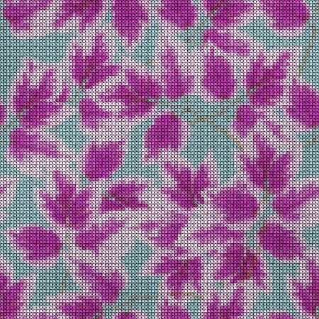 Illustration. Cross-stitch. Maple leaf Texture of flowers. Seamless pattern for continuous replicate. Floral background, collage.