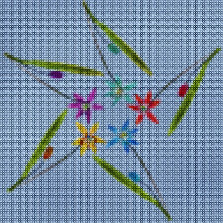 Illustration. Cross-stitch. Bluebell, scilla, primroses flowers. Texture of flowers. Seamless pattern for continuous replicate. Floral background, collage.