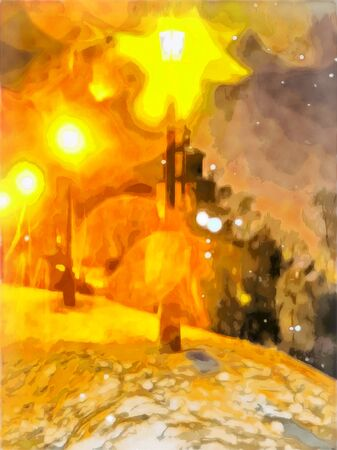 Watercolor cityscape. Abstract winter landscape. Lights, snowdrifts, snow. Digital painting - illustration. Watercolor drawing.