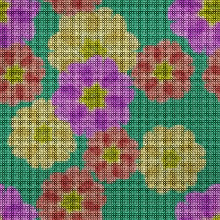 Illustration. Cross-stitch. Primula, primrose flowers. Texture of flowers. Seamless pattern for continuous replicate. Floral background, collage.