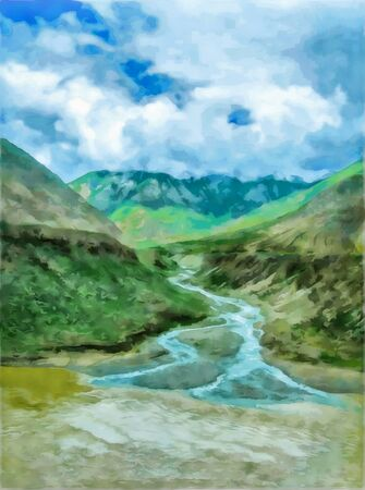 Watercolor mountain landscape, Himalayas, Tibet. Tourism, travel. Mountain and lake views. Digital painting - illustration. Watercolor drawing.