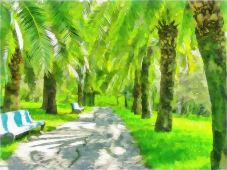 Watercolor cityscape. Alley, footpath among palm trees. Digital painting - illustration. Watercolor drawing.