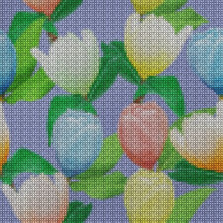 Illustration. Cross-stitch. Magnolia flowers. Texture of flowers. Seamless pattern for continuous replicate. Floral background, collage.