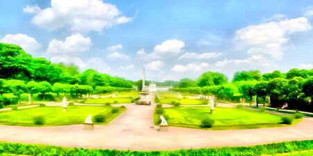 Watercolor cityscape. Park area. Symmetrical structure of the Park area, paths and flowerbeds. Digital painting-illustration. Watercolor drawing. Reklamní fotografie