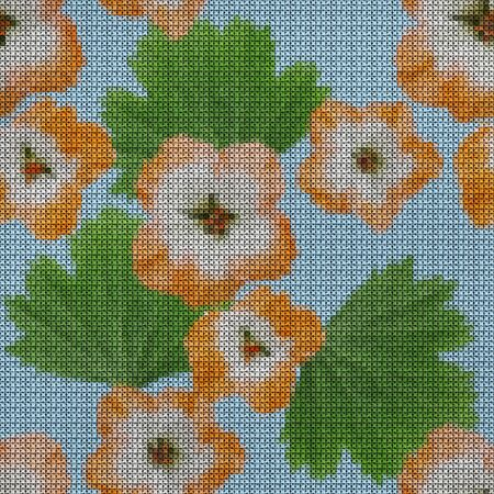 Illustration. Cross-stitch. Geranium, pelargonium flowers. Texture of flowers. Seamless pattern for continuous replicate. Floral background, collage. Reklamní fotografie