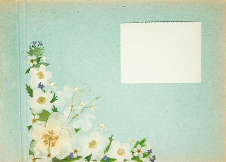 Scrapbooking element decorated with leaves, flowers and petals flowers.