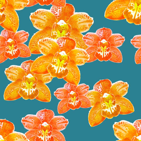 Orchid, Phalaenopsis. Illustration, texture of flowers. Seamless pattern for continuous replication. Floral background, photo collage for textile, cotton fabric. For use in wallpaper, covers.