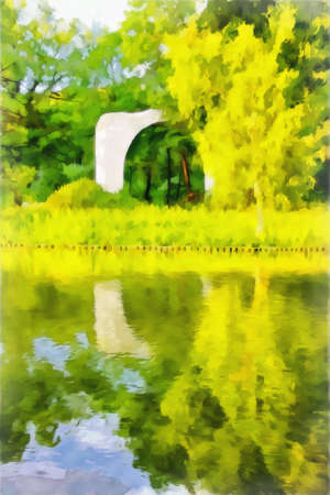 Drawing watercolor. Watercolor  parkland landscape. Park area on the lake with old ruins. Digital painting-illustration.