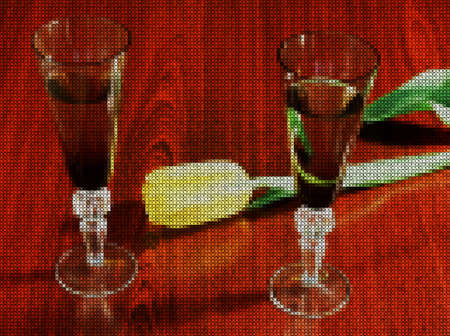 Illustrations. Cross-stitch. Two elegant glasses of wine and delicate yellow tulip on a dark wooden background. Romantic atmosphere.