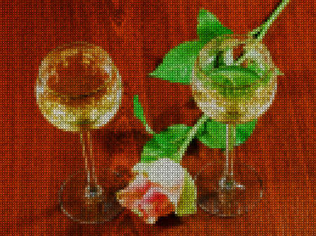 Illustrations. Cross-stitch. Two elegant glasses of wine and delicate flower roses on a dark wooden background. Romantic atmosphere.