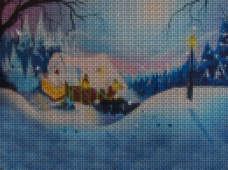 Illustration. Cross stitch. New Year, christmas. Fairy-tale house in the forest among snowdrifts.