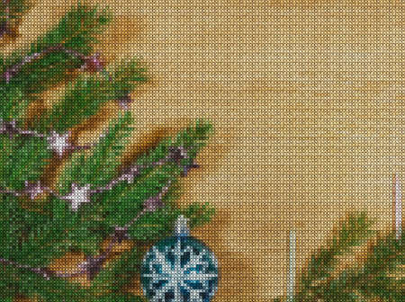 Illustration. Cross stitch. New Year, christmas. Composition with spruce branches, sparkling balls and candles on wooden background. Stock Photo