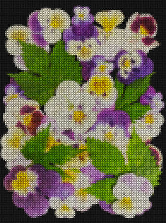 Illustration. Cross-stitch, bouquet of flowers. Violet or pansies, pansy. Floral background, collage. Texture of flowers. Rustic, country style.