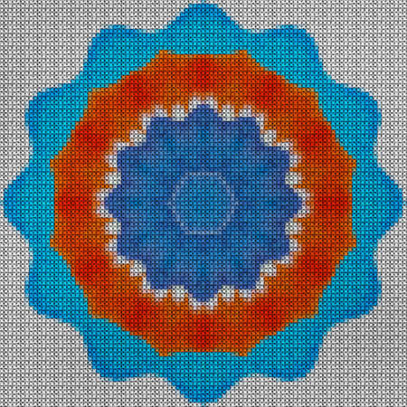 Illustration cross stitch mandala from flowers. Cross-stitch floral collage. Mandala - symbol of meditation, Buddhism, Hinduism, yoga. Geometric drawing made by plants in oriental style