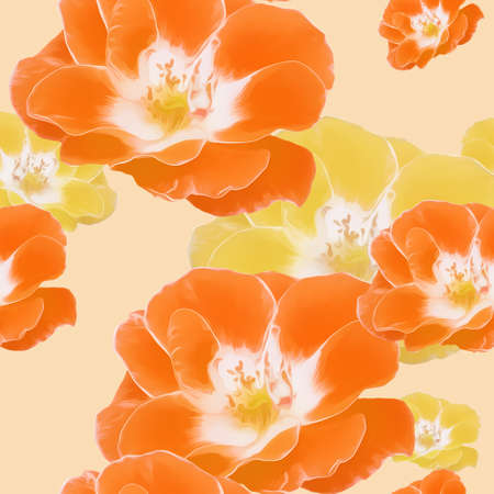 Rose flower. Illustration, texture of flowers. Seamless pattern for continuous replication. Floral background, photo collage for textile, cotton fabric. For use in wallpaper, covers
