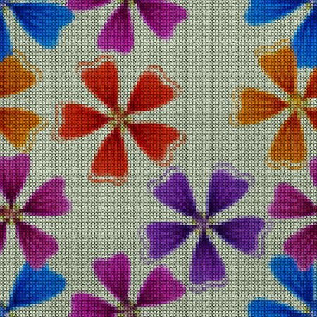 Illustration. Cross-stitch. Lavatera, malva flowers. Texture of flowers. Seamless pattern for continuous replicate. Floral background, collage.