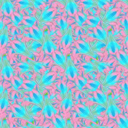 Alstroemeria. Illustration, texture of flowers. Seamless pattern for continuous replication. Floral background, photo collage for textile, cotton fabric. For wallpaper, covers, print.